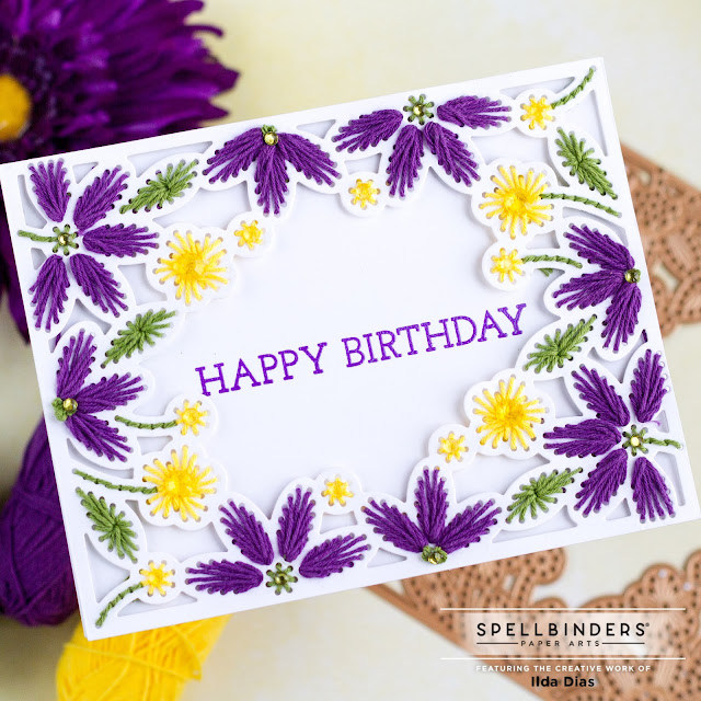 Stitched Card Front, Border & Flower Inspiration Projects | Spellbinders DOML - MAY21