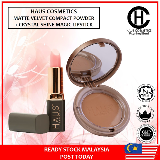 HAUS COSMETICS COMBO CRYSTAL SHINE MAGIC LIPSTICK RM29 + MATTE VELVET COMPACT POWDER RM65