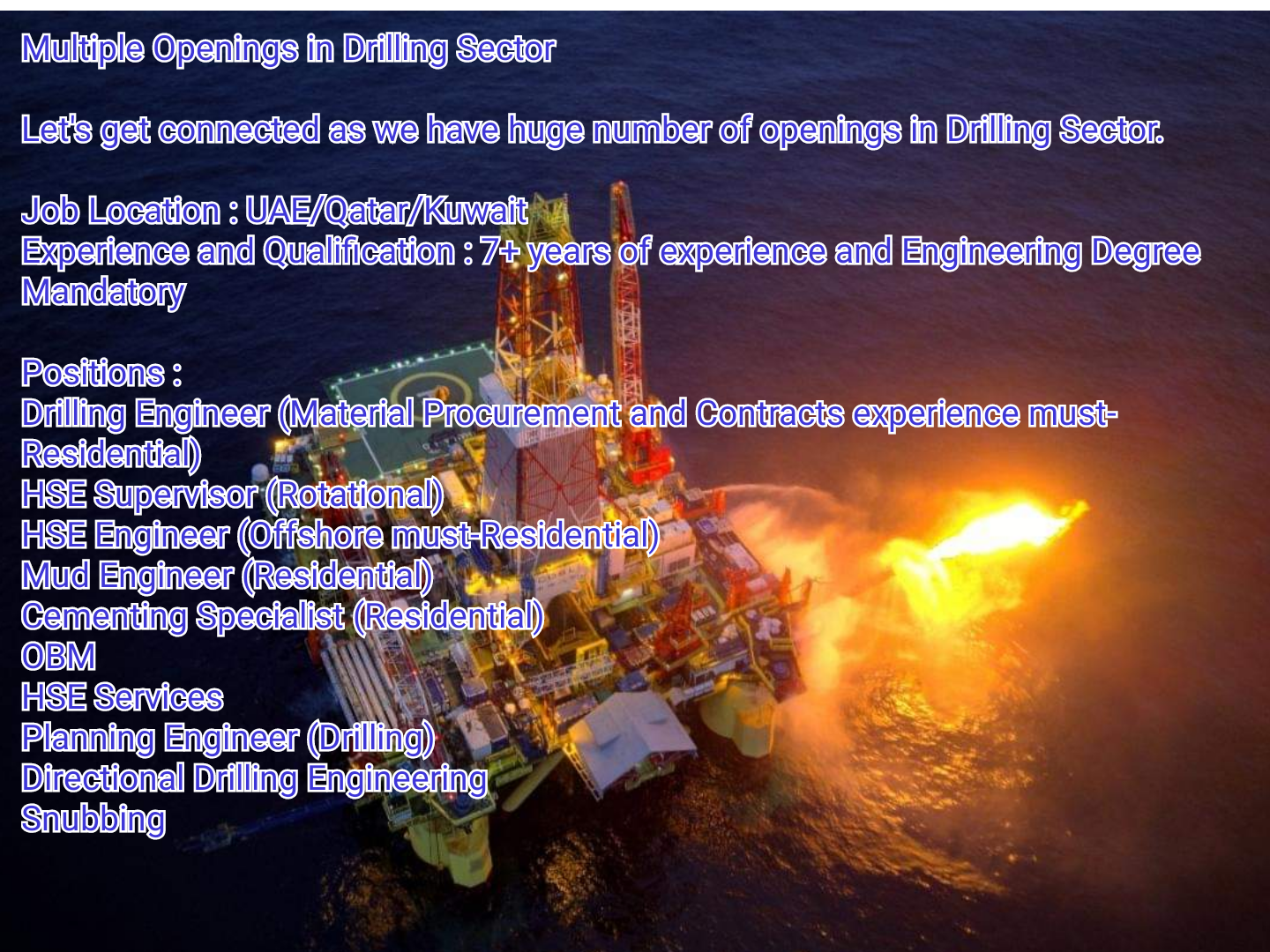 Oil and Gas Jobs: Drilling, HSE, OBM Multiple Openings