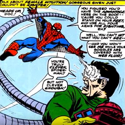 Amazing Spider-Man #53, john romita, spider-man fires webbing at doctor octopus' glasses