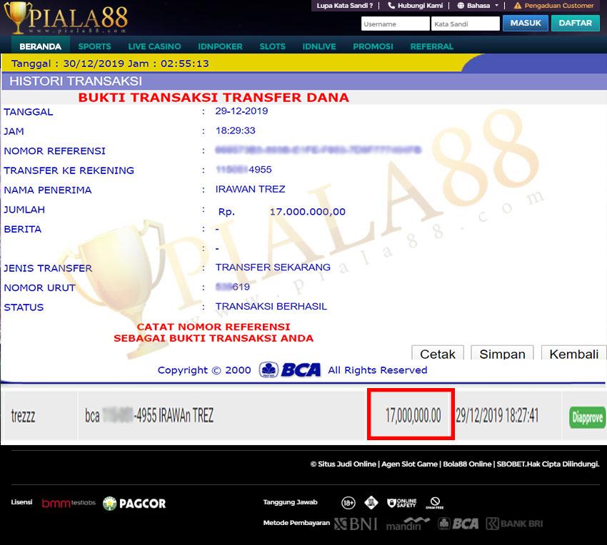 Selamat Kepada Member Setia PIALA88 Withdraw RP 17.000.000