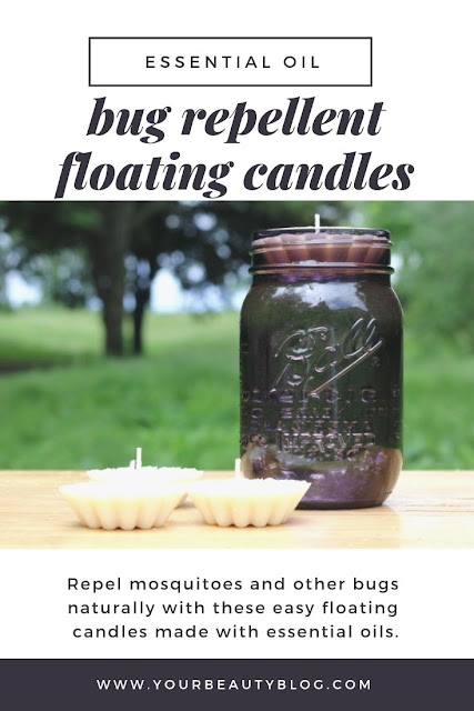 How to make DIY bug repellent floating candles with essential oils. This uses the best essential oil blend to repel mosquito and other bugs for outside. Set in a mason jar to use on your deck, patio, or porch. If you need ideas for natural bug repellent, make these natural candles for yard or backyard. Make homemade mosquito repelling natural candles for home or outdoor.  #essentialoils #bugs #mosquitoes #masonjar
