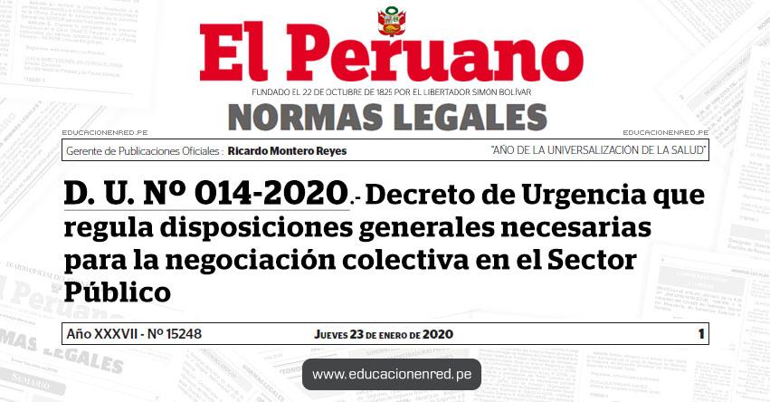 D. U. Nº 014-2020.- Decreto de Urgencia que regula disposiciones generales necesarias para la negociación colectiva en el Sector Público