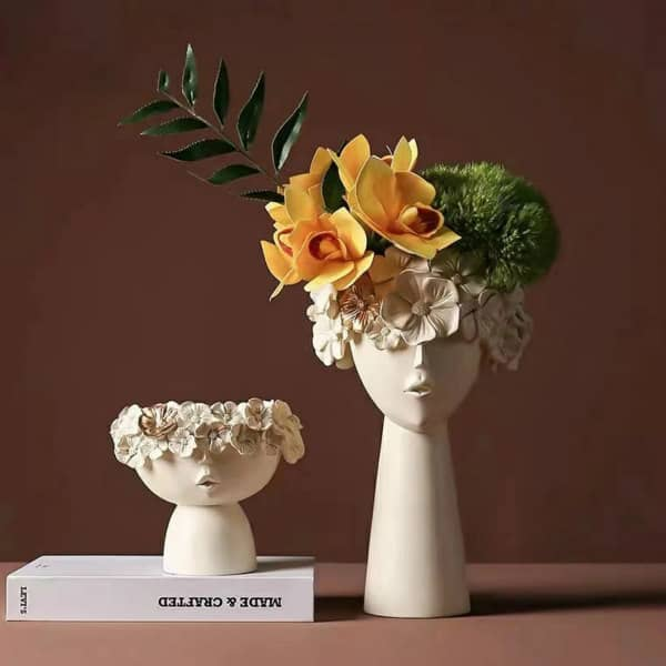 mother and baby porcelain-look character vases