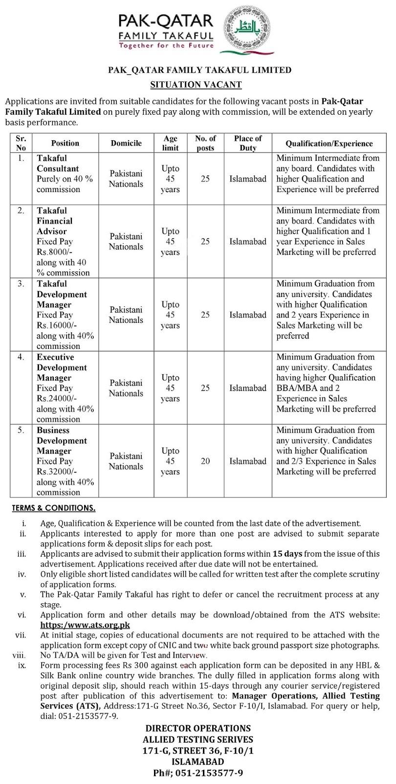 Pak Qatar Family Takaful Limited Jobs in Islamabad via ATS Testing Service 2020