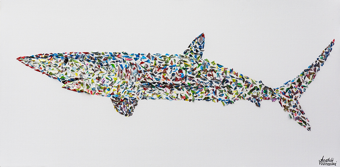 shark  acrylic painting, heavy textured shark painting, shark art, unique shark painting on canvas, anatoli shark, anatoli voznarski shark, 3D shark painting, signature shark painting, animal painting,office painting