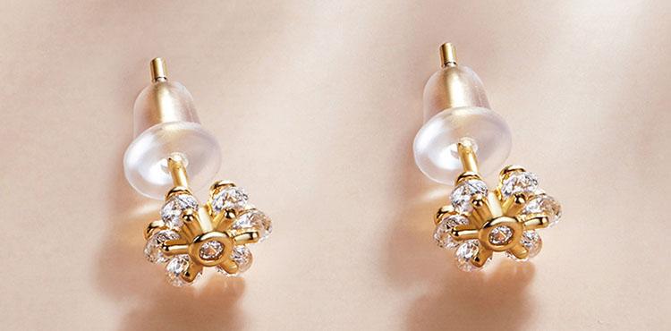 淡雅六瓣花鋯石 925純銀耳環(小尺寸)