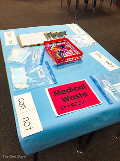 Student table is set up for Contraction Surgery