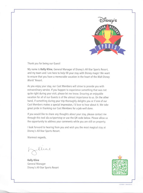 Letter from Disney's All-Star Sports Resort General Manager Kelly Kline