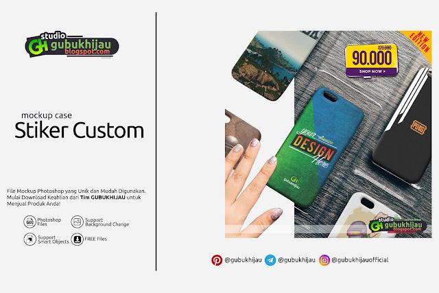 Mockup Stiker Custom Case By Gubuk HIjau