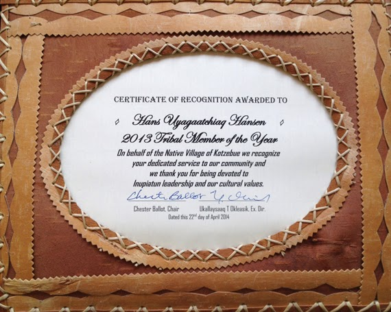 Hans Hansen's certificate of recognition for Tribal Member of the Year.