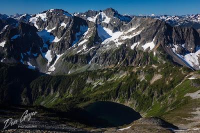 Doubtful Lake and North Cascades from Sahale High Camp in North Cascades National Park, Washington, USA.
