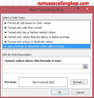 gambar kotak dialog new formatting rule