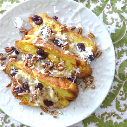 Chocolate Chip, Banana and Coconut French Toast