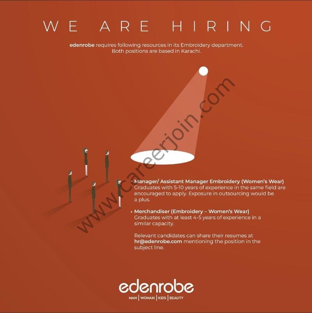 edenrobe.com Jobs 2021 - denrobe Jobs 2021 in Pakistan