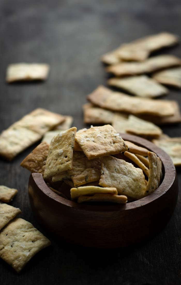 Rosemary sea salt sourdough crackers