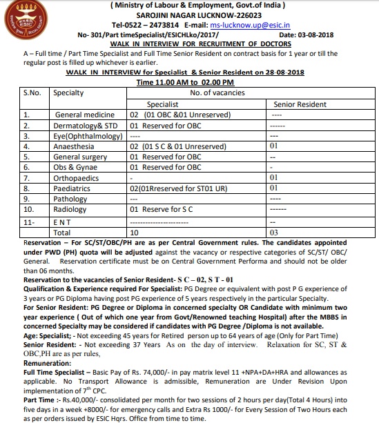 ESIC UP Recruitment