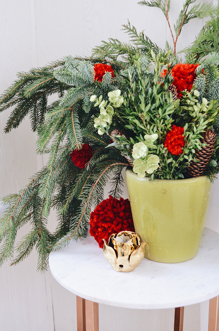 holiday potted pine arrangement decor
