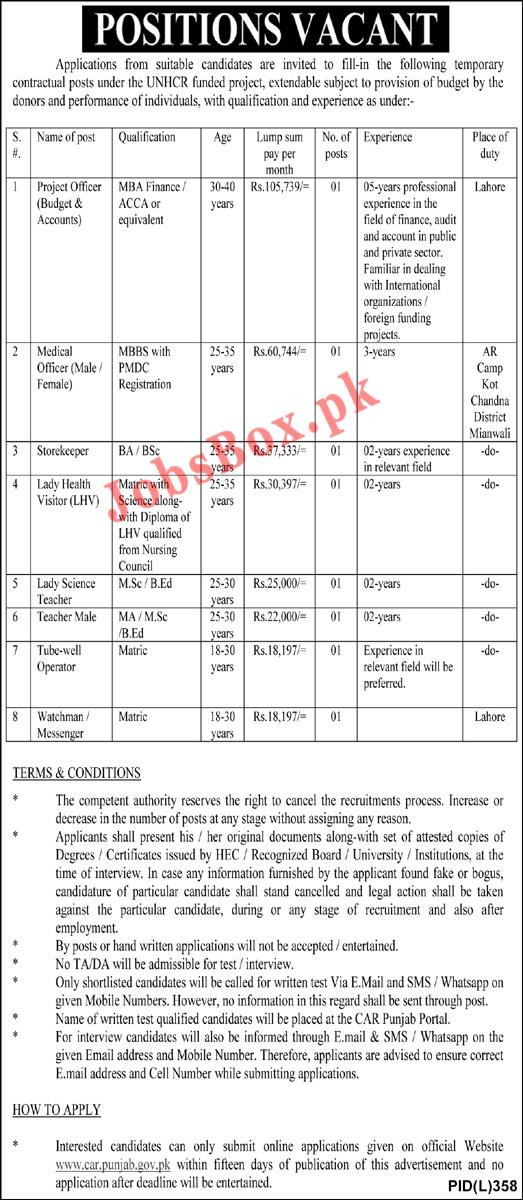 Commissionerate for Afghan Refugees Punjab Jobs 2021 – Apply Online