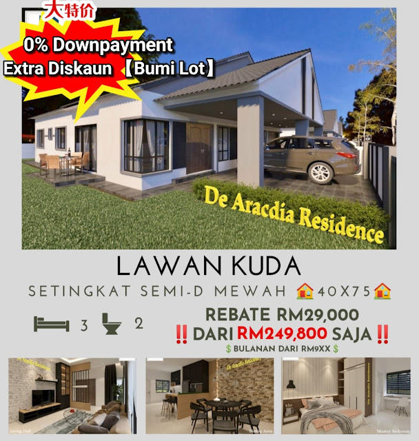 Rumah Semi-D 1 Tingkat Di De Aracdia Residence Perak