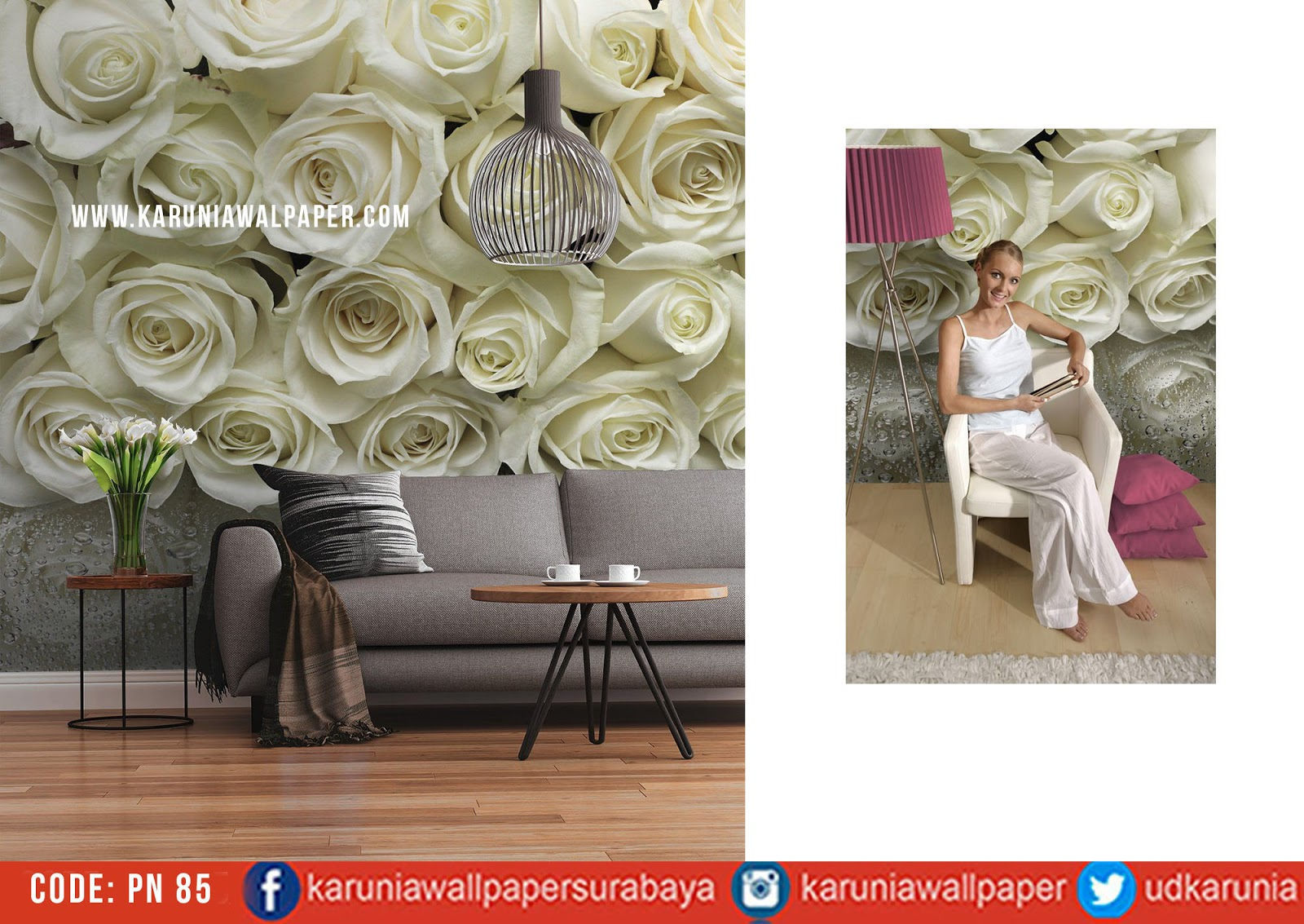 jual wallpaper bunga mawar putih