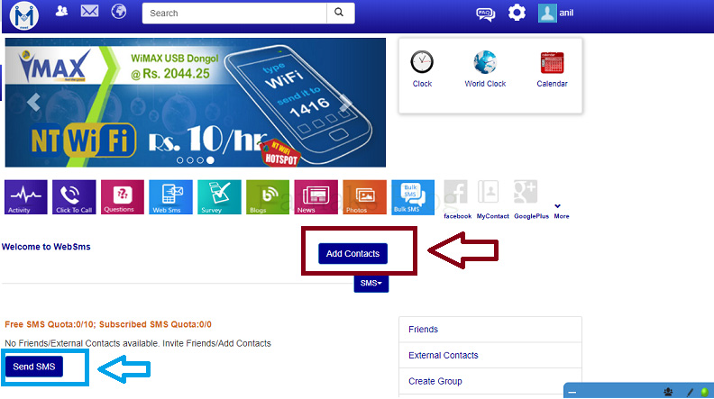 add contact web sms service