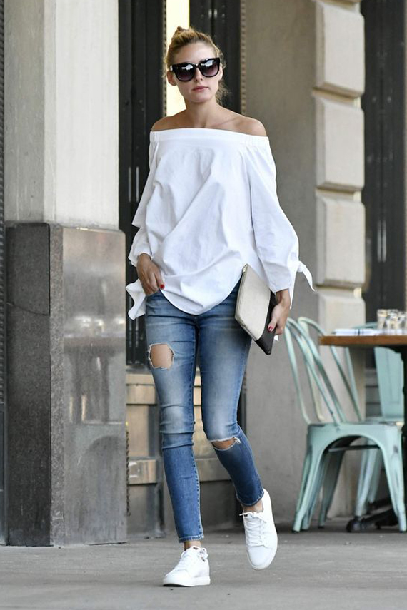 Olivia Palermo street style, white shirt, denim and sneakers