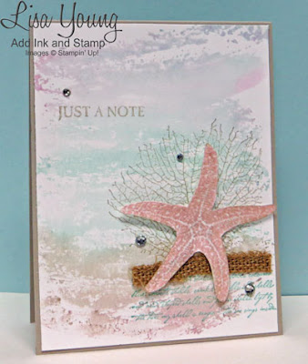 Stampin' Up! Picture Perfect stamp set. Stampin' Up! By the Tide stamp set. Watercolor Wash background with starfish. Beachy under the sea card. Handmade card by Lisa Young, Add Ink and Stamp