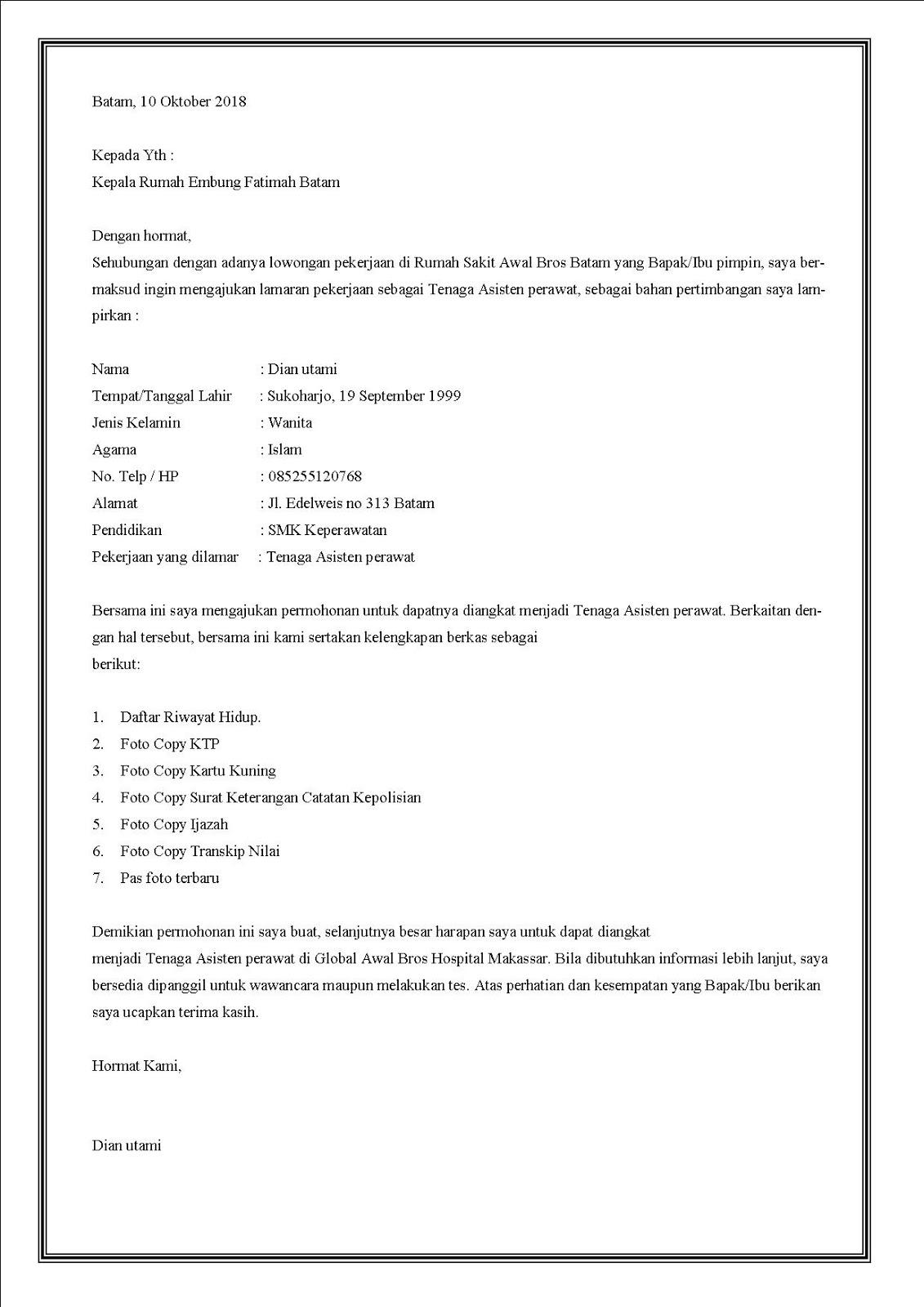 contoh surat lamaran kerja di rumah sakit sebagai asisten perawat