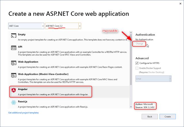 Avec ASP.NET Core 2.2 - No Authentification