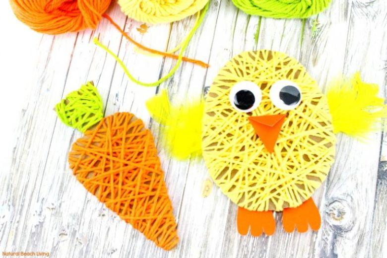 Easter crafts for preschoolers - Yarn wrapped chick and carrot