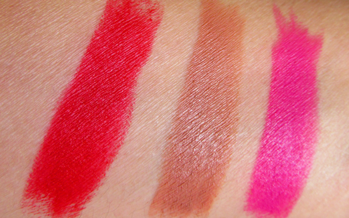 Swatches Maybelline Creamy Mattes - Siren in Scarlet, Nude Embrace, Magnetic Magenta