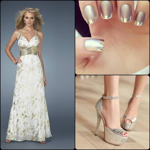 Vestido de novia elegante y moderno, decorado de uñas y zapatos