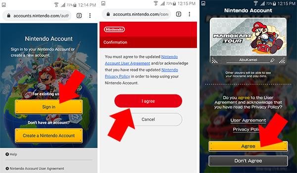 """بعد تحميل لعبة Mario Kart Tour وتشغيل اللعبة تطلب اللعبة منك ان تقوم بتسجيل دخول في اللعبة اما عبر انشاء حساب جديد على نينتندو او تسجيل الدخول باستخدام حساب جوجل الى اللعبة. وبعدها ستعطيك اللعبة خيارين للتحكم في اللعبة بحيث يمكنك اختيار وضع المحترفين """"لا انصح به في البداية"""" او اختيار الوضع العادي وهو الخيار الاول."""