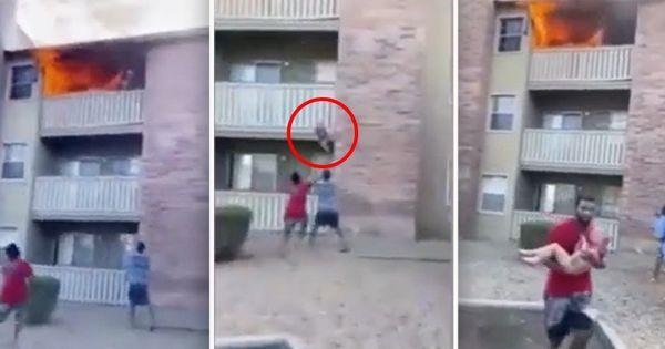 Морпех-футболист спас ребенка, сброшенного матерью с 3 этажа во время пожара!