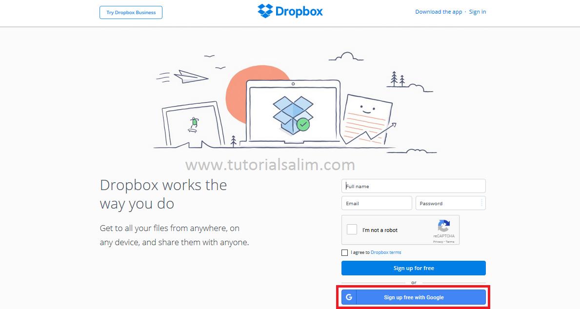 Cara Membuat Akun Dropbox Dengan Akun Google