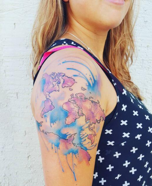 31 cool world map tattoos gallery 2018 page 2 of 3 tattoosboygirl world map tattoos gumiabroncs Image collections