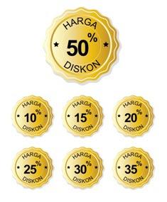 Vector Badge Diskon Gold bahasa indonesia