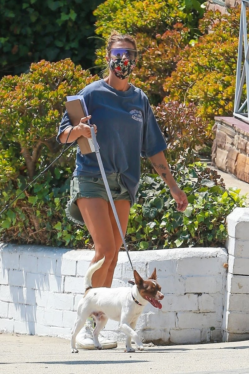 Elisabetta Canalis Snapped in Denim Shorts Out with Her Dogs in Beverly Hills 2 Sep -2020