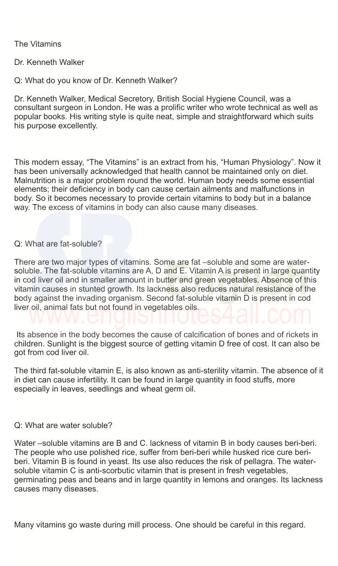 BA English modern essay The Vitamins by Dr. Kenneth Walker, questions/answers,punjab university, sargodha university
