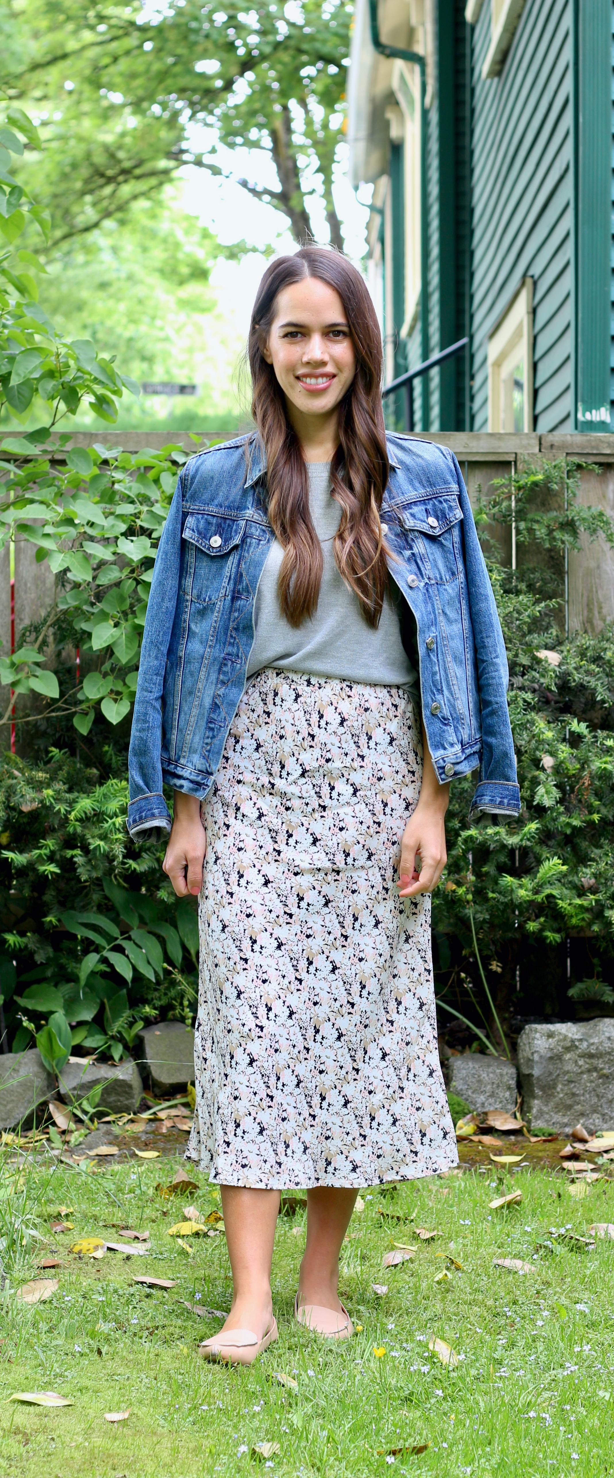 Jules in Flats - Floral Slip Midi Skirt with Grey Crop Sweater & Denim Jacket