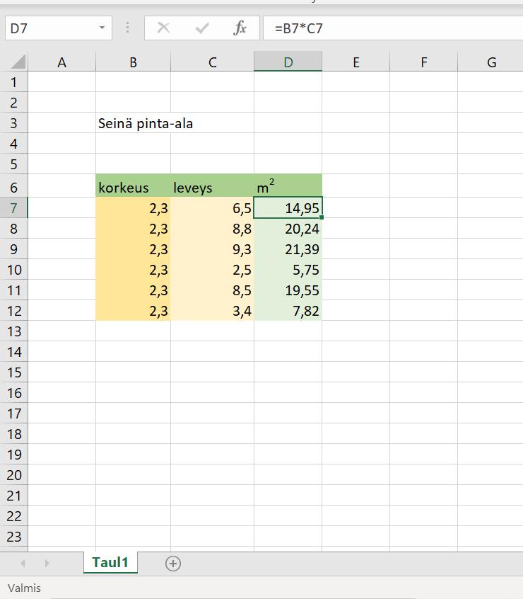 Excelillä laskeminen