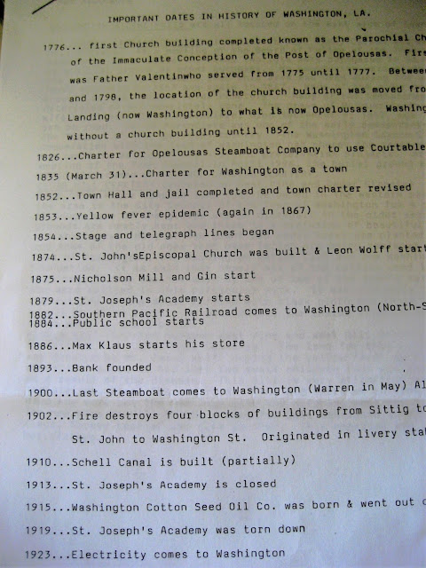 Museum and Tourist's Center list of Important Dates in history of Washington, Louisiana. March 2015.
