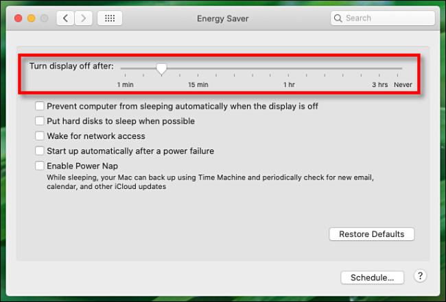 شريط تمرير شاشة Mac Energy Saver