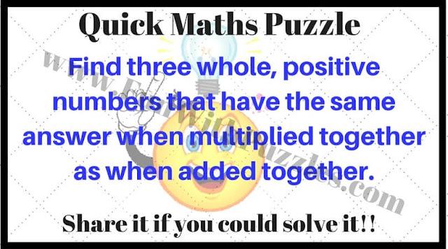 Quick Maths Puzzle Question