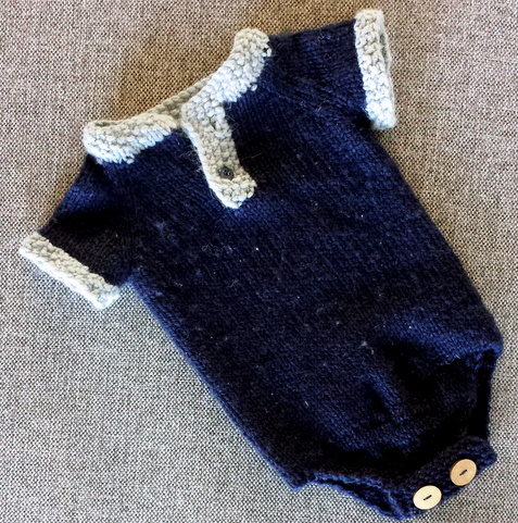 Rhino Romper knit baby onesie  |  Stitch by stitch on afeathery*nest  |  afeatherynest.com