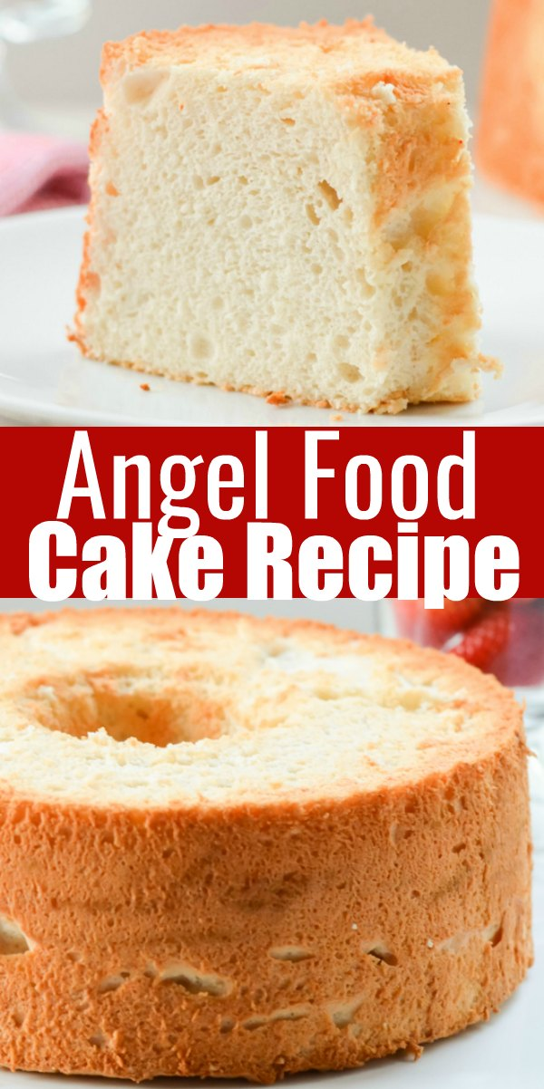 The Best light airy Angel Food Cake Recipe! Delicious served with strawberries and whipped cream from Serena Bakes Simply From Scratch.