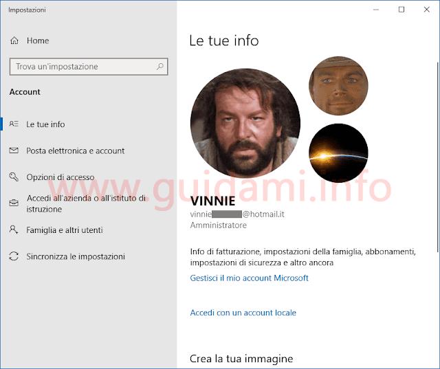 Windows 10 finestra Impostazioni Le tue info