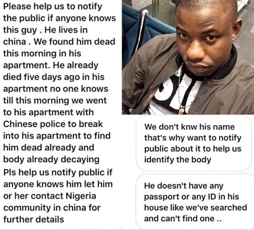 Sad Photos & Video of a Young Nigerian Man Found Decaying in His Apartment in China After Being Missing for Weeks