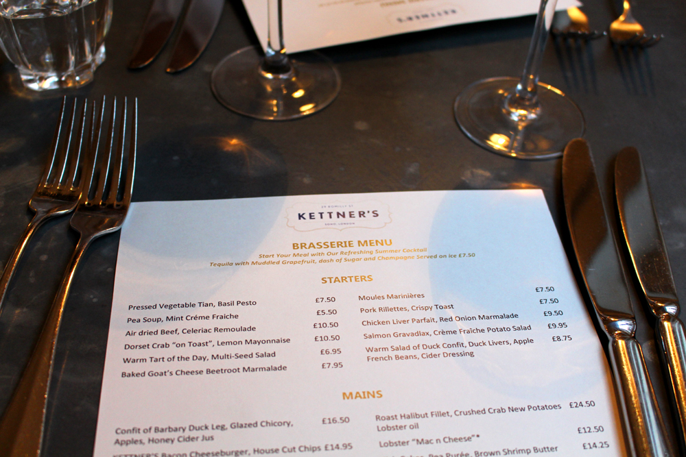 Menu at Kettners Brasserie, Soho, London - restaurant blogger